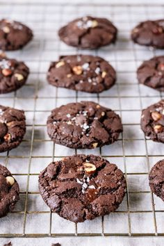Vegan salted double chocolate hazelnut cookies - crisp on the outside soft & chewy on the inside & utterly chocolaty! Healthy Vegan Cookies, Vegan Treats, Healthy Sweets, Vegan Foods, Chocolate Hazelnut Cookies, Chocolate Desserts, Chocolate Chocolate, Vegan Dessert Recipes, Cookie Recipes