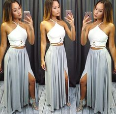 Sexy Two-Piece Halter Split-Front Long Prom/Evening Dress