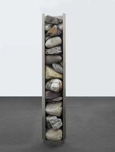 Nicole Wermers - Rockdispenser, 2010, 235 x 43 cm, stainless steel, various rock