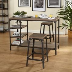 Shop for Simple Living Scholar Vintage Industrial Counter Height Dining Set. Get free delivery at Overstock - Your Online Furniture Shop! Get in rewards with Club O! Kitchen Dining Sets, Counter Height Dining Sets, Dining Room Bar, Dining Rooms, Dinning Set, Dining Area, Kitchen Ideas, Bar Table Sets, Patio Bar Set