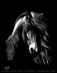 horses pastel painting déco design modern contempory soft pastel - animals art