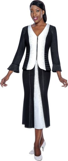 Devine Sport DS50712 Womens Suit with V Neck- Black and White come to life in this Devine Sport Women's Suit. Featuring a zippered front V-neck suit jacket, geometric white stitched stripes at the jacket cuffs, shoulders and bodice, and vertical white stitched stripes on black skirt panels show your curvaceous figure. Strategically designed, this 2-piece soft stretch denim fabric is comfortable to wear and appropriate for any type of occasion, business meeting or religious service.
