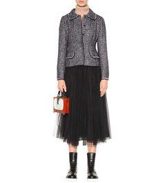 Black and white virgin wool, silk, alpaca and mohair-blend blazer