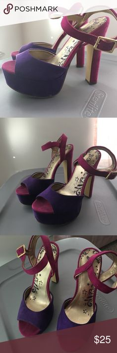 👠 Colorful Platform Heels 👠 These gorgeous heels were worn once on my Birthday. They are a royal purple color across the toes and Platform and a beautiful fuchsia color on the straps and heel. Platform is 1 inch and shoe is overall 4 inches.  Brash Shoes Heels