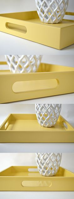 Golden Yellow 16 in Square Decorative Tray with Handles Handmade Wood Serving…