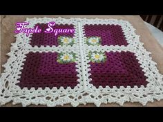 Tapete Square de croche #diy by Rhosângella - YouTube Crochet Basket Pattern, Crochet Patterns, Crochet Table Mat, Crochet Squares, Crochet Videos, Crochet Designs, Daisy, Blanket, Garland