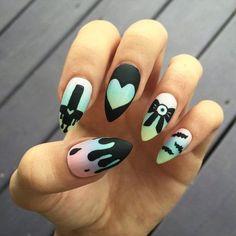 Pastel goth melting nail art