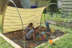 Shade over lawn, moves with sun. drill tubes into astroturf, cap when poles not in use in tubes.