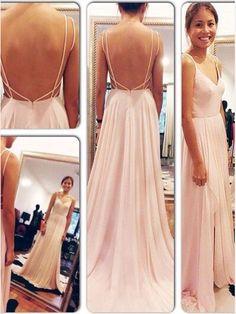 V Neck Backless Spaghetti Strap Long Chiffon Prom Dresses Floor Length Evening Dress