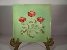 Original Rare Art Nouveau Embossed Tile - Mackintosh Style Roses   #130 #Victorian