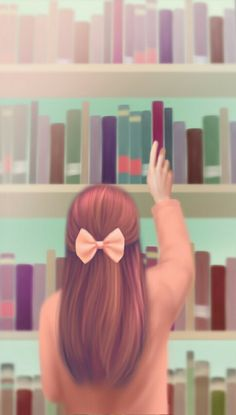 Imagem de art, Enakei, and bow Korean girl painting books reading