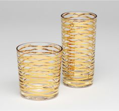 Gold ribbon drinking glasses