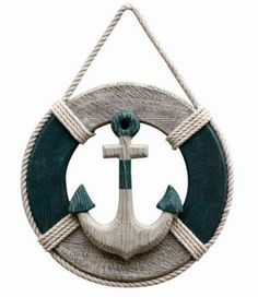 "Nautical Decor Items | 12"" WOODEN LIFE RING WITH WOOD ANCHOR NAUTICAL DÉCOR"