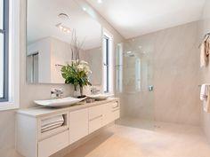 Modern bathroom design with twin basins using frameless glass - Bathroom Photo 249035 Bathroom Photos, Glass Bathroom, Bathroom Renos, Bathroom Renovations, Bathroom Ideas, House Design Photos, Bathroom Collections, Bathroom Cleaning, Modern Bathroom Design
