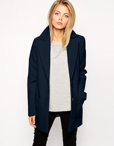 $69, Navy Coat: Asos Collection Ultimate Slim Coat. Sold by Asos. Click for more info: https://lookastic.com/women/shop_items/151343/redirect