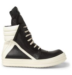 Rick Owens Panelled Leather High Top Sneakers   MR PORTER