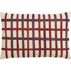 """grid embroidered 18""""x12"""" pillow in pillows 