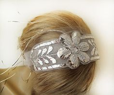 Bridal Headband Vintage Style  Sparkly Handmade by ADbrdal on Etsy, $37.00