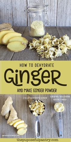 How to dehydrate ginger and make ginger powder. Don't buy another bottle of ginger powder, EVER! It is easy to dehydrate ginger and make ginger powder at home that tastes so much better than storebought! Dehydrated Vegetables, Dehydrated Food, Dehydrated Banana Chips, Homemade Spices, Homemade Seasonings, Do It Yourself Food, Good Food, Yummy Food, Dehydrator Recipes