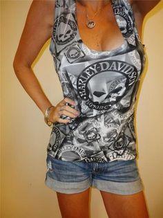 Harley Davidson Sleeveless Stretch Low Skull Motorcycle Blouse Top Large Jamaica   eBay