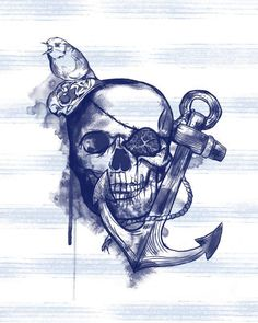 pirate skull with sea life and floral incorporated