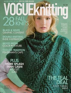 VOGUE KNITTING Fall 2015 Winged Triangle Shawl Fisherman Gansey Cap 29 Patterns #VogueKnitting #KnittingPatterns