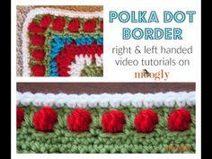How to Crochet: Polka Dot Border Edging (Left Handed)