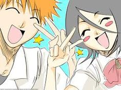 "Ichigo (left) Rukia (right) in the anime and manga ""Bleach"""