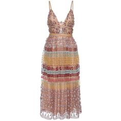 Valentino Embroidered Cotton-Blend Maxi Dress (29.300 BRL) ❤ liked on Polyvore featuring dresses, valentino, vestidos, cocktail/gowns, multicoloured, beige maxi dress, beige cocktail dress, cocktail maxi dresses, cocktail dresses and maxi dresses
