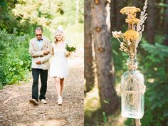 The bottle and dried flowers might work as well.  Ruffled®   Woodsy Ontario Wedding by Bare Feet Projects Photography