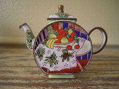 Charming enamel miniature teapot