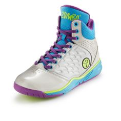 Zumba Fitness Energy Push High Top Shoes! Silver/Atomic Blue! NWT! SHIPS FAST!
