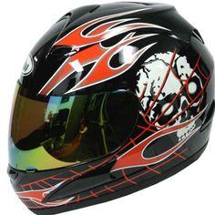 Amazon.com: Motorcycle Street Bike Black Skull Red Flame Full Face Adult Helmet: Automotive $29.95 http://skullcart.com/motorcycle-street-bike-black-skull-red-flame-full-face-adult-skull-helmet/ #skull #helmet #motorcycle #skullcart