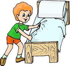 èl después de despertarse,hace su cama colocando su manta y su almohada.