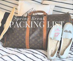 Spring Break Packing List | Sarah Smile Spring Break, Toms, Packing, Louis Vuitton, Smile, Tote Bag, Sneakers, Fitness, Blog