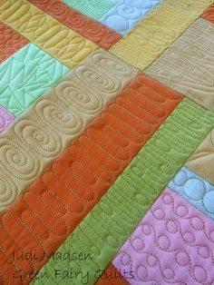 This is awesome quilting ! Love it! Brings life to each color/pc of fabric! Green Fairy Quilts, Judi Madsen