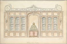 Design for the Wall of a Library in Rococo Style, Artist: Charles-Frédéric Mewès (Strasbourg 1860–1914 Paris) Artist: Arthur Joseph Davis (British, Bayswater 1878–1951 Wimbledon) Date: ca. 1900–1914