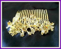 Gold Tone Hair Comb Decorated with Crystals. Starting at $5 on Tophatter.com!