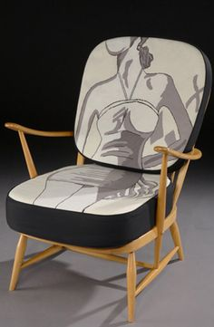 Fine Cell Work Ercol Swimming Chair  stitched by prisoners in the UK