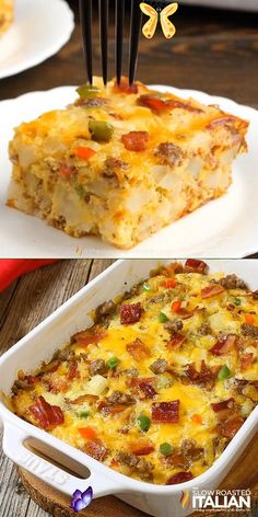 Fully Loaded Cheesy Breakfast Casserole Fully Loaded Cheesy Breakfast Casserole is all of our favorite things in an easy breakfast recipe that you can make ahead. Packed with eggs, potatoes, veggies, sausage AND bacon it is truly a full breakfast in one dish. The overnight cooking method makes this a winner in my house! #BreakfastCasserole #CheesyCasserole #EasyBreakfast<br> Hashbrown Casserole, Egg Sausage Potato Casserole, Breakfast Casserole With Sausage, Farmers Casserole, Sausage Egg Casserole, Easy Breakfast Casserole Recipes, Casserole Dishes, Overnight Breakfast Casserole, Breakfast Cassarole