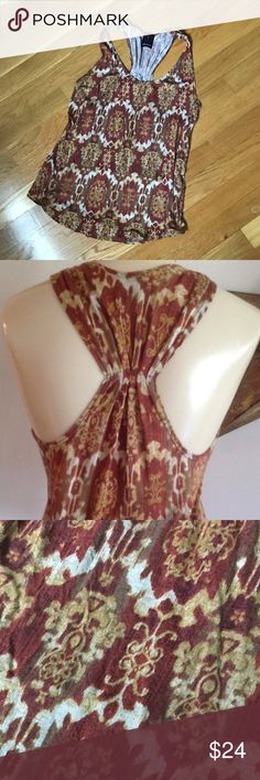 Anthropologie Ella Moss Tank Top Gorgeous ikat print in warm yellow, orange, and brown hues. New condition; worn twice. From Anthropologie. Anthropologie Tops Tank Tops