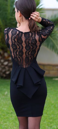 Women's fashion | Peplum and lace back on little black dress