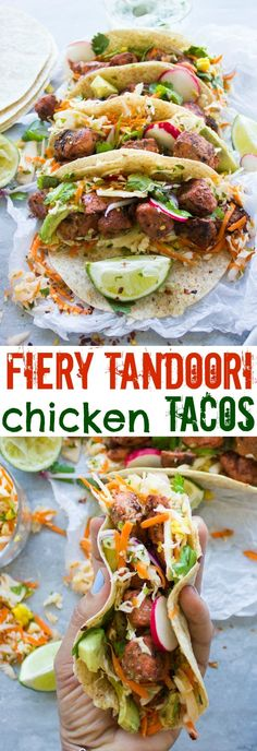 Fiery Tandoori Chicken Tacos with Cilantro Corn Slaw. This is a crazy delicious twist which combines the best of both worlds--succulent tender fiery tandoori chicken pieces on a bed of zesty cilantro corn slaw, topped with radishes, avocados and yogurt sa Grilled Tandoori Chicken, Tandori Chicken, Chicken Tacos, Cilantro Chicken, Fried Chicken, Carnitas, Barbacoa, Walnut Chicken Recipe, Best Chicken Recipes