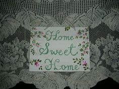 """HOME SWEET HOME 10X7.5X.25"""" ej pink roses hp shabby chic cottage hand painte P16 #Unbranded #FrenchCountry Shabby Chic Cottage, Shabby Chic Style, Shabby Chic Decor, Cottage Style, Shabby Vintage, Vintage Floral, Floral Flowers, Pink Roses, French Country"""