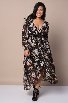 Plus Size Boho Surplice Flower Dress