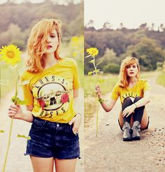 Guns and Sunflowers (by Chloe D ( coconut )) http://lookbook.nu/look/3840447-Guns-and-Sunflowers