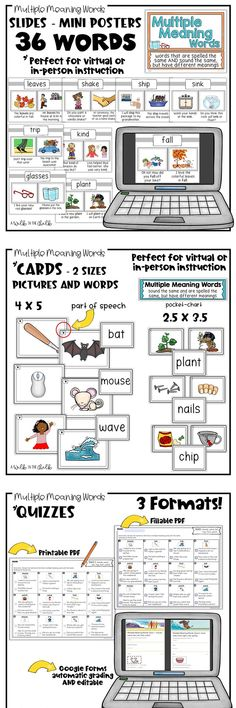 Multiple Meaning Words - Tons of Resources for the school year! Digital and Printable materials to use during distance learning or in-person. Resources include Slides/Posters, Picture and Word Cards, Activities and Quizzes. Activities and Quizzes include Google Slides and Google Forms. Building vocabulary and teaching context clues are critical for all students, especially English language learners. Multiple Meaning Words, Vocabulary Building, Context Clues, English Language Learners, Picture Cards, Teaching English, Quizzes, Distance, Meant To Be