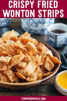 Do you love the fried wonton strips served at Chinese-American restaurants? With this recipe youll get all the tips and tricks you need to make restaurant-quality crispy wonton chips for your next takeout fakeout dinner. Vegetarian Chinese Recipes, Authentic Chinese Recipes, Chinese Chicken Recipes, Easy Chinese Recipes, Healthy Diet Recipes, Asian Recipes, Cooking Recipes, Vegetarian Wonton, Asian Foods