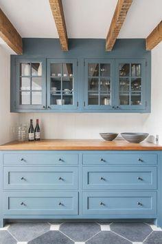 blaue küchenfronten austauschen