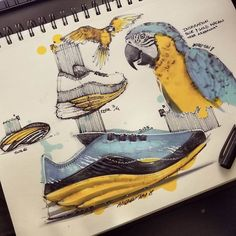 Gold and Blue Macaw by TiahDesign design sketches Animal Inspiration for Product Design Industrial Design Portfolio, Industrial Design Sketch, Portfolio Design, Sketch Design, Design Art, Hidrocor, Blue Macaw, Object Drawing, Sketch Markers